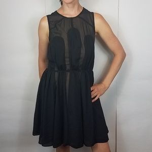 Nasty gal black sheer nude dress size small